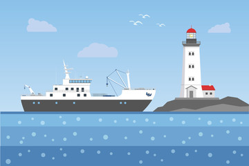 Fishing boat against the lighthouse. Vector illustration.