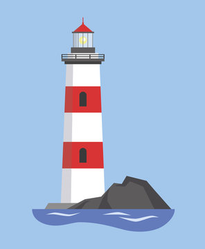 The image of the lighthouse on the mountain. Vector illustration.