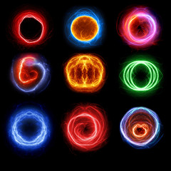 Set of plasma balls, abstract circle lightning elements