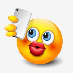 Cute emoticon taking selfie with his smartphone, emoji