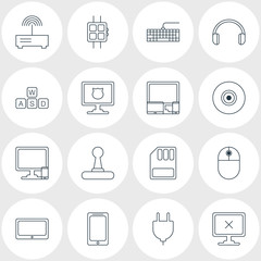 Vector Illustration Of 16 Notebook Icons. Editable Pack Of Smartphone, Modern Watch, Game Controller And Other Elements.
