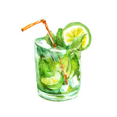 Watercolor drawing - cocktail of fruits, circe, lemon slice, lime, mint, ice. Cool drink with ice. On white isolated background. Logo, postcard, card, drawn by hand graphics