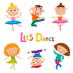 Vector cartoon illustration of little graceful girls-dancer and