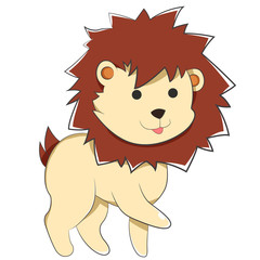 Happy Cartoon Baby Lion, A Cartoon Yellow Lion with small round black Anime eyes, furry and pointy dark brown mane, cute tiny tail and a cute, joyful face. sticking out His short Hand.