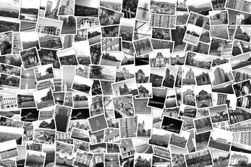 Asymmetrical mosaic mix collage of 200+ photos of different places, landscapes, objects  shot by myself during Europe travels black and white