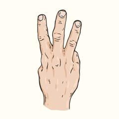 Hand gesture Three fingers