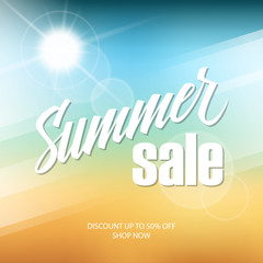 Summer Sale banner with hand lettering and blurred background for business, promotion and advertising. Vector illustration.