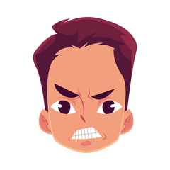 Young man face, angry facial expression, cartoon vector illustrations isolated on white background. Handsome boy frowns, feeling distresses, frustrated, sullen, upset. Angry face expression