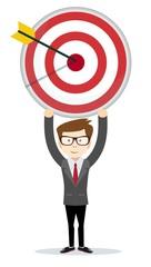 Businessman holding the big target. vector illustration