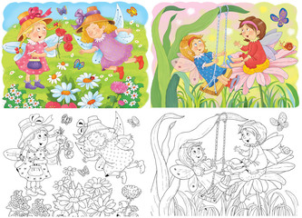 Cute fairies. Fairy tale. Coloring book. Coloring page. Illustration for children. Funny cartoon characters