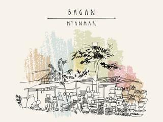 Village market in Bagan, Myanmar (Burma). Travel postcard