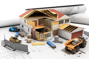 construction concept House in building process Three-dimensional image 3d render
