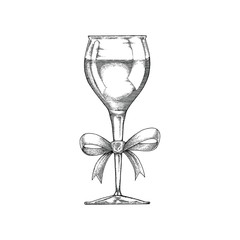 Wine glass hand drawing vintage with ribbon black and white line