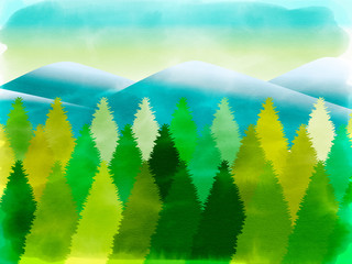 morning pine forest, abstract watercolor nature landscape background