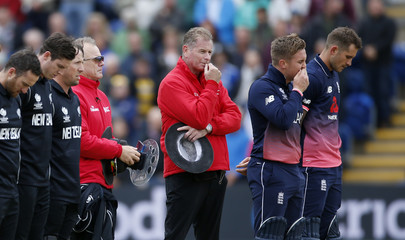 England and New Zealand players observe a minutes silence in tribute to the victims of Saturday nights attack in London