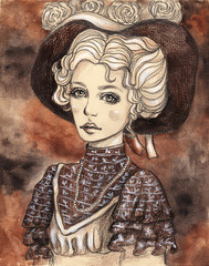 Beautiful girl in Victorian clothes. Watercolor hand-drawn illustration in vintage photo style