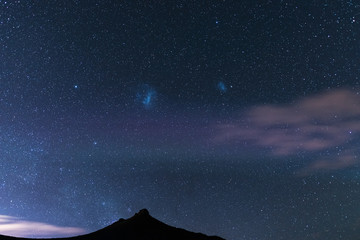 The starry sky and magellanic clouds captured Karoo National Park, South Africa, in winter.