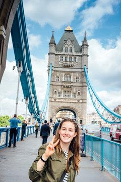 Teen girl on The Tower Bridge