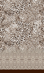 Mosaic bordered leopard textile pattern