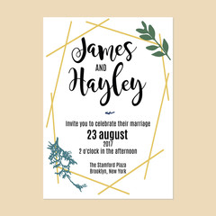 Golden stripes with green branches wedding invitation card template vector