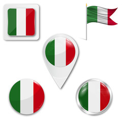 Set of icons of the national flag of Italy in different designs on a white background. Realistic vector illustration. Button, pointer and checkbox.