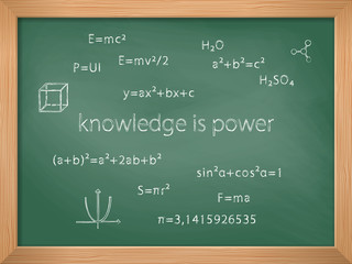 Green chalkboard with handwritten various formulas. Knowledge is power. Back to school. Education and school concept. Vector illustration