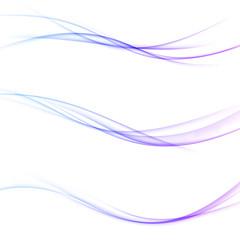 Minimalistic soft smooth futuristic swoosh lines web header set. Collection of three transparent dynamic graphic soft hi-tech gradient waves