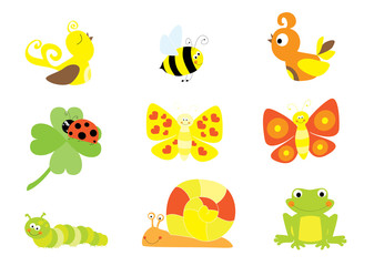 Cartoon insects, bugs and small animals colection / vector illustration for children