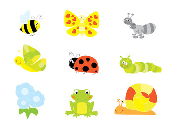 Cartoon insects, bugs and small animals set/ vector illustration for children