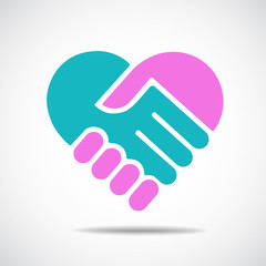 Hands together. Heart symbol. Vector