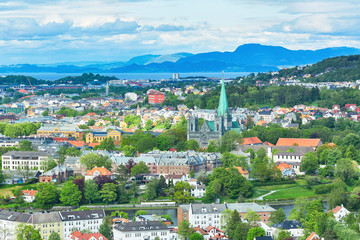 Aerial view of the historic center of the norwegian city Trondheim, the Cathedral Nidarosdomen and Trondheim fjord.