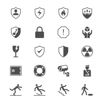 Safety flat icons