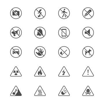 Warning sign toolbar flat icons
