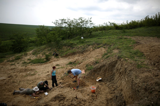 A team of scientists, led by Professor Spassov, works near the site where an isolated tooth of Graecopithecus freybergi was found in 2009, near the town of Chirpan
