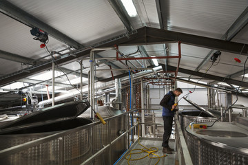 Man checking large metal tanks in a distillery or brewery, lifting the lid on a chamber full of beer mash.