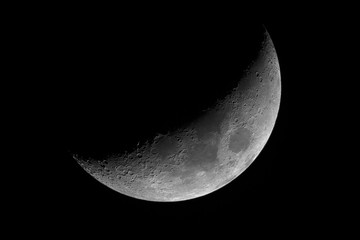 Moon in waxing crescent phase.