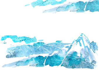 Abstract landscape with mountains and sky.Watery background.Watercolor hand drawn illustration.Wet splash.