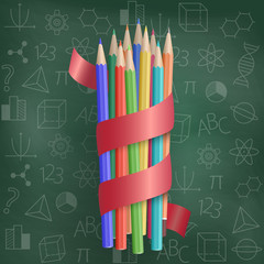Colorful pencils with a red ribbon on the background of a school board. Education and school concept. Vector illustration