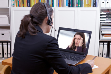 counselor headset online call patient