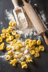 Italian traditional food. Home-made ravioli with cheese and herbs. Dark background.