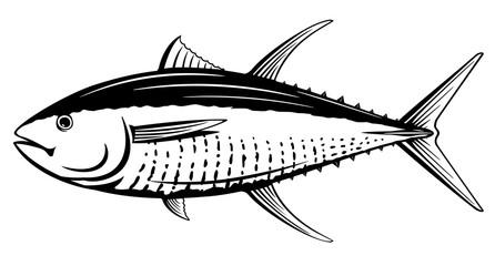 Yellowfin Tuna Black and White Fish