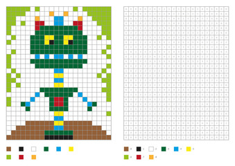 Kids coloring page, pixel coloring with fantastic robot. Vector illustration