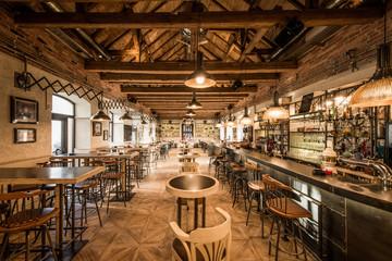 Printed roller blinds Pizzeria Loft wooden interior of caffe restaurant
