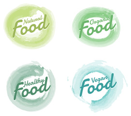 Set of Organic Food hand drawn Watercolor badges and Elements. Vector Illustrations for organicFood and Drink.