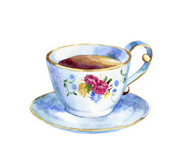 watercolor hand drawn cap of tea on a white background