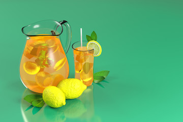 3d rendering of lemonade with ice and mint in a jar and a glass on a green background.
