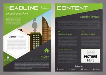 Vector flyer, corporate business, annual report, brochure design and cover presentation with white hexagon and triangle in green color.