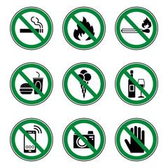 Verbots- & Warnschilder (in Grün)