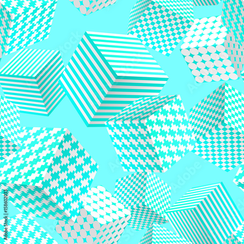 Abstract Seamless Pattern Of White And Mint Green Patterned Cubes Modern Vector Background Without Transparency