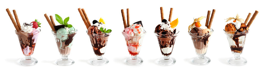 Large collection of Ice cream on white